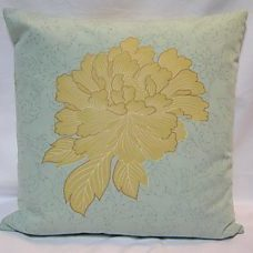 Pillow 50x50 turquoise with beige flower